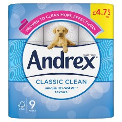 Andrex Classic Clean Toilet Roll, 9 Rolls £4.75 PMP 190sc