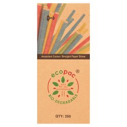 Ecopac Bio-Degradable 250 Assorted Colour Straight Paper Straw 210mm