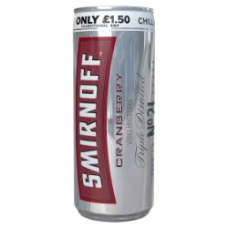 Smirnoff Red Label Vodka and Cranberry 250ml PMP £1.50
