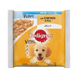 Pedigree Wet Puppy Dog Food Pouches Chicken in Jelly 3 x 100g