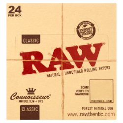 Raw Classic Connoisseur Kingsize Slim + Tips Natural Unrefined Rolling Papers
