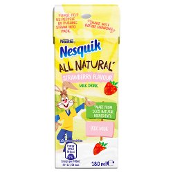 Nesquik All Natural Strawberry Milkshake Drink Carton 180ml