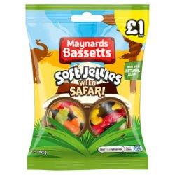 Maynards Bassetts Soft Jellies Wild Safari Sweets Bag £1 160g