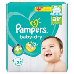 Pampers Baby-Dry Size 4+, 24 Nappies, 10-15kg, Breathable Dryness