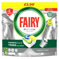 Fairy Platinum Dishwasher Tablets Lemon 17 per pack