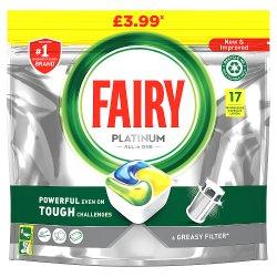 Fairy Platinum All In One Dishwasher Tablets Lemon, 17 Tablets