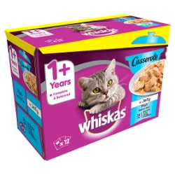 Whiskas Casserole Fish Selection in Jelly Wet Adult 1+ Cat Food Pouches 12 x 85g