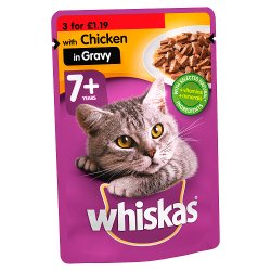 Whiskas Senior 7+ Wet Cat Food Pouches Chicken in Gravy 100g