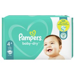 Pampers Baby-Dry Size 4+, 41 Nappies, 10-15kg, Essential Pack