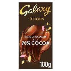 Galaxy Fusions Dark Chocolate 70% Cocoa Bar 100g