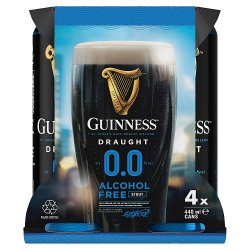 Guinness Draught 0.0% Non-Alcoholic Beer 4 x 440ml Pack