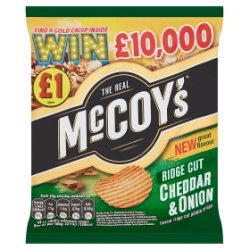 McCoy's Cheddar & Onion Flavour Ridge Cut Potato Crisps 70g