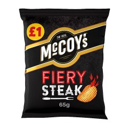 McCoy's Fiery Steak Flavour Ridge Cut Potato Crisps 65g