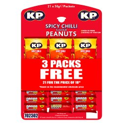 KP Spicy Chilli Flavour Peanuts 21 x 50g