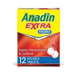 Anadin Extra Soluble Aspirin, Paracetamol & Caffeine 12 Soluble Tablets