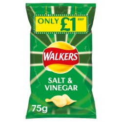 Walkers Salt & Vinegar Crisps £1 PMP 75g