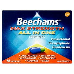 Beechams Max Strength All in One Cold and Flu Capsules 16s