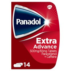 Panadol Paracetamol Caffeine Pain Relief Tablets 500mg/65mg Extra Advance 14s