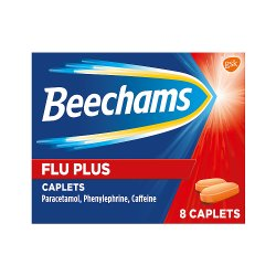 Beechams Flu Plus Cold and Flus Caplets, Pain and Congestion Relief, 8s
