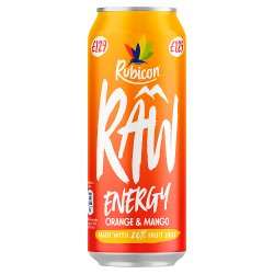 Rubicon Raw Energy Orange & Mango 500ml, PMP, £1.29