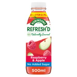 Robinsons Refresh'd Raspberry & Apple Spring Water with Real Fruit 500ml