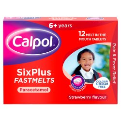 Calpol SixPlus Fastmelts On-The-Go, Paracetamol Medication, 6+ Years, Strawberry Flavour, 12-Count