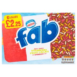 Fab Strawberry Fruity Lollies 6 x 58ml