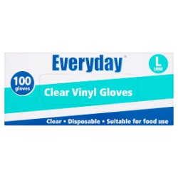 Everyday 100 Clear Vinyl Gloves Large