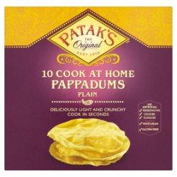 Patak's The Original 10 Cook at Home Pappadums Plain 100g
