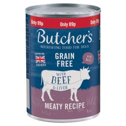 Butcher's Beef & Liver in Jelly Dog Food Tin 400g 89p