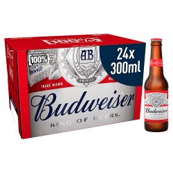 Budweiser Lager Beer Bottles 24 x 300ml
