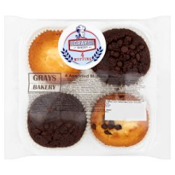 Grays Bakery 4 Assorted Muffins 300g