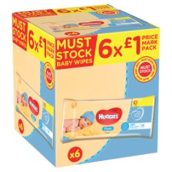 Huggies® Pure Baby Wipes PMP - 6 Pack (56 Wipes/Pack, 336 Wipes Total)