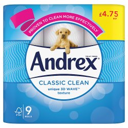 Andrex Classic Clean Toilet Tissue 9 Rolls