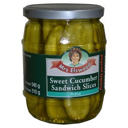 Mrs Elswood Sweet Pickled Cucumber Sandwich Slices 540g