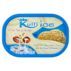 Kulfi Ice Original Malai Flavour Kulfi Ice Cream with Real Almonds & Pistachios 1 Litre