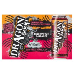 Dragon Soop Passionfruit & Orange Caffeinated Alcoholic Beverage 8 x 500ml