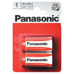 Panasonic C 1.5V Zinc Carbon Batteries x 2pk