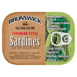Brunswick Canadian Style Sardines with Hot Pepper in Soya Oil 106g