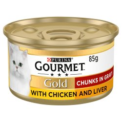 Gourmet Gold Tinned Cat Food Chicken and Liver In Gravy 85g