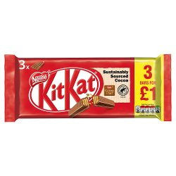 Kit Kat 4 Finger Milk Chocolate Bar 41.5g 3 Pack £1