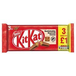 KITKAT 4 Finger Milk Chocolate Bar 41.5g, 3 for £1 Pack