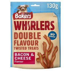 Bakers Whirlers Dog Treat Bacon and Cheese 130g