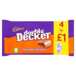 Cadbury Double Decker £1 Chocolate Bar 4 Pack 160g