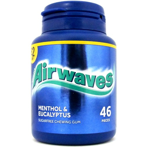 Airwaves Menthol & Eucalyptus Sugar Free Chewing Gum Price Marked Bottle 46 Pieces