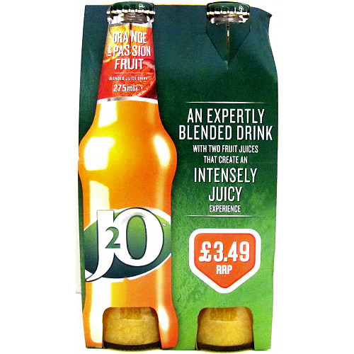 J2O Fruit Blend Orange & Passion Fruit 4 x 275ml