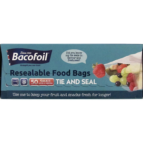 Baco Food and Freezer Bags Small x50 with Tie Closures