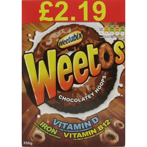 Weetos Chocolatey Hoops 350g Pricemarked £2.19