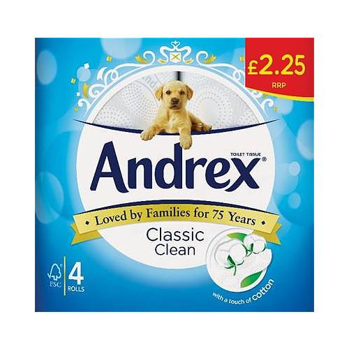 Andrex Classic Clean Toilet Roll Tissue 4 Rolls Bestway