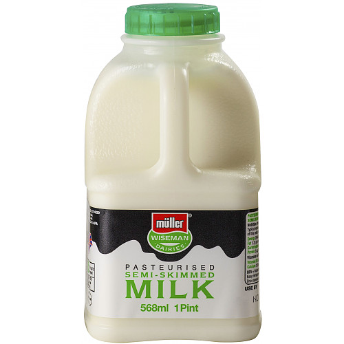 Müller Wiseman Dairies Pasteurised Semi-Skimmed Milk 1 Pint/568ml